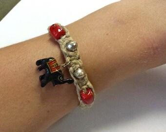 Hemp Woven Bracelet with Wooden Elephant Charm