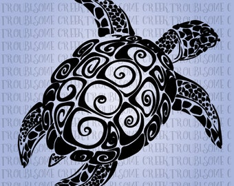 Tribal Turtle Instant Download SVG Silhouette Cricut