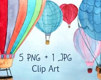 5 Watercolor Hot Air Balloon PNG+JPEG