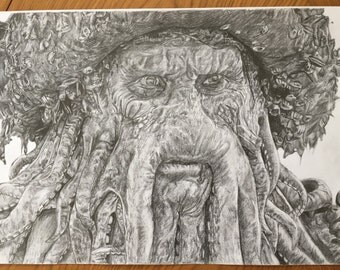 A3 Davy Jones Portrait Drawing