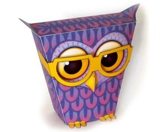 Paper toy owl for self-assembly. Printable A4 PDF and JPEG. Instant Download. 1.