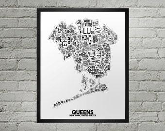Queens New York Neighborhood Typography City Map Print