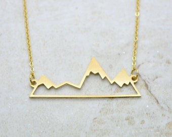 Mountain Silhouette Necklace, Brushed 24k Gold Plated Stainless Steel, Dainty Minimal Mountain Ridge Layering Layered Long Necklaces