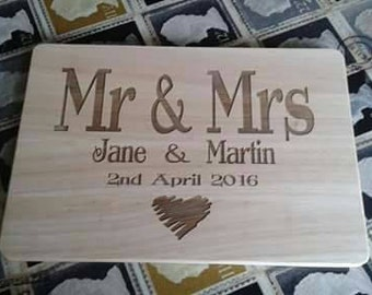 wooden engraved chopping board personalised