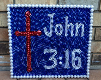 John 3:16 Christian Bead Art