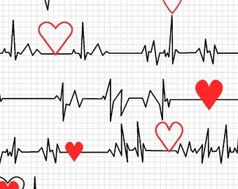 EKG Heartbeat White 100% Cotton Fabric by the 1/2 Yard