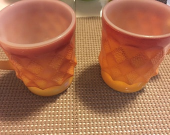 3 Vintage fire king mugs