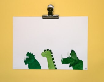 Original watercolor, dinosaurs illustration, child's room decoration, born present, gift for kid, original gift, home decoration
