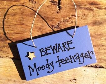 Handmade moody teenage boy plaque sign. Great birthday gift present.