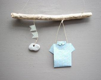 Mobile Origami Driftwood Celebrations Decoration wall Art shirt Boy Baby shower gift