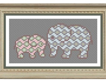 Elephant cross stitch pattern downloadable pdf