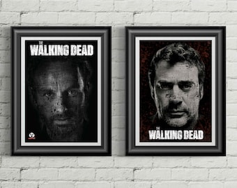 Walking Dead Negan & Rick Typography Twin Poster Set
