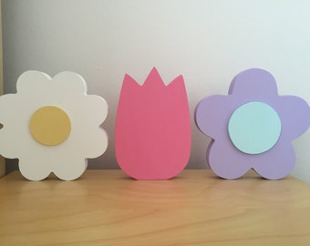 Hand Painted Wooden Flowers