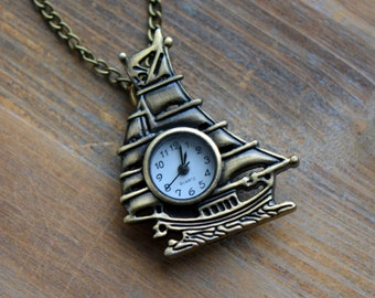 Ship Pocket Watch Pocketwatch Necklace, WORKING Clock, Antique Bronze Boat, Nautical (BB012)