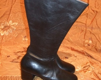 vintage hand made black leather boots 1960s sz 7