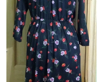Vintage Sears 60's 70's Black Floral Cinched Waist Dress with Flowers