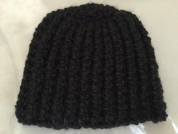 Crochet Ear Warmer Pattern Bulky Yarn : Crochet Bulky Hat Beanie Black hat Head warmer Ear warmer
