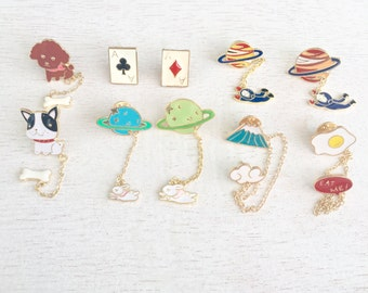 1 Enamel Pin,Saturn,Puppy,Eggs,Volcanos,Hard Enamel Pins,Flair,Brooches,Lapel Pins, Lot #1