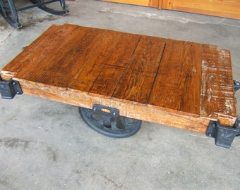 Factory Cart Coffee Table: Rustic Restored Vintage Lineberry K16082