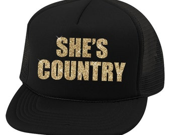 She's Country Trucker Hat, country hat, southern hat, sassy southern girl (black trucker hat)