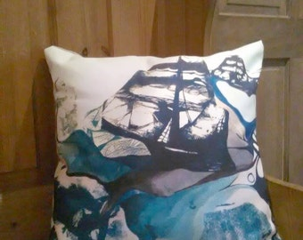 Illustrated Ship Cushion