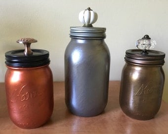 Hand painted mason jar w decorative lids