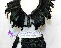 Women's Black Feather Top, Feather skirt Sold Separetly,Burning Man Outfit,Rave outfit, Rave, Edc, Edm, Feather Outfit, Coachella,Edc Outfit