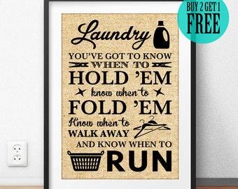 Laundry Room Burlap Print, Laundry Basket, Rustic Homeware, Home Decor, Sign, Dorm Wall Art, Typography Poster, Housewarming Gift, SD58