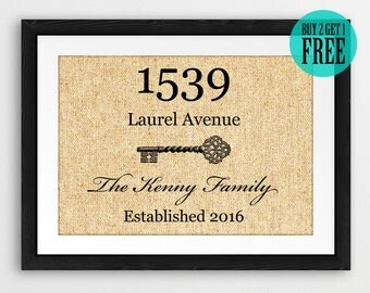 Burlap Print, Personalized Housewarming Gifts, New Home Gifts, First House Gifts, New Apartment Decor, Family Name Sign, Address Sign, CM81