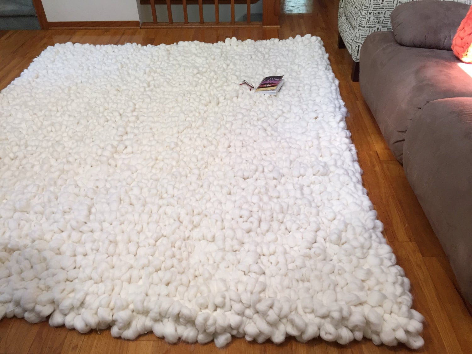 Merino Wool Rug Chunky Knit Rug Area Rug Thick Carpet By