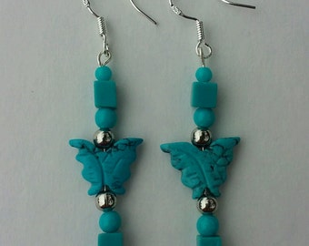Sterling and Imitation Turquoise Butterfly earrings