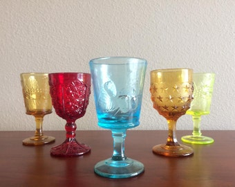 5 Assorted 1960's Colonial Revival Glasses