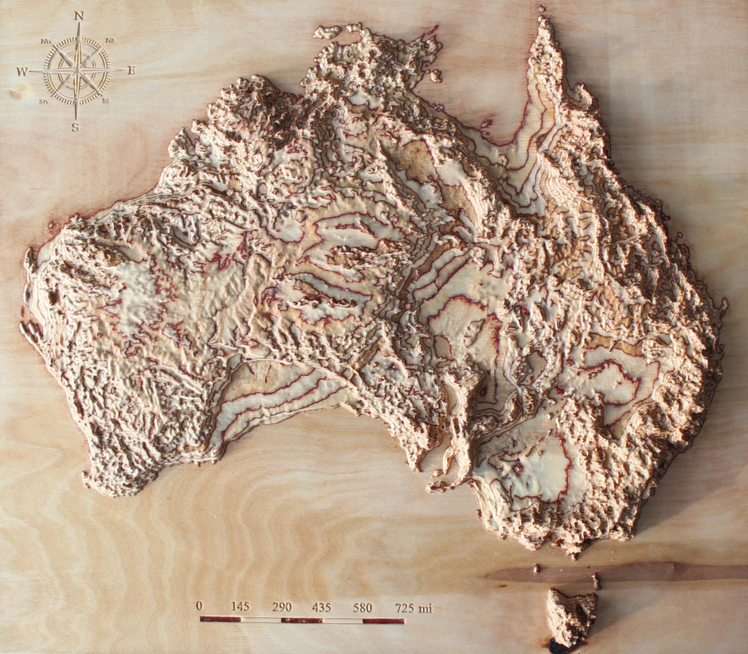 D Raised Relief Map Of Australia Cut In Wood X - Us raised relief topographical map