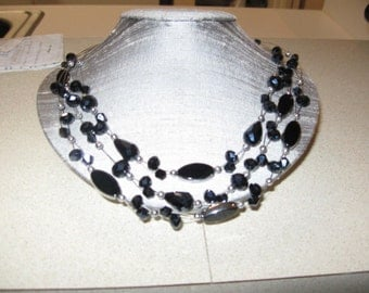 Onyx 3 tier necklace