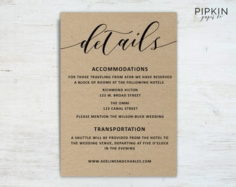 Wedding Details Template | Wedding Information Card | Rustic Wedding Details Template | Rust Wedding Invitation Suite | Wedding Information