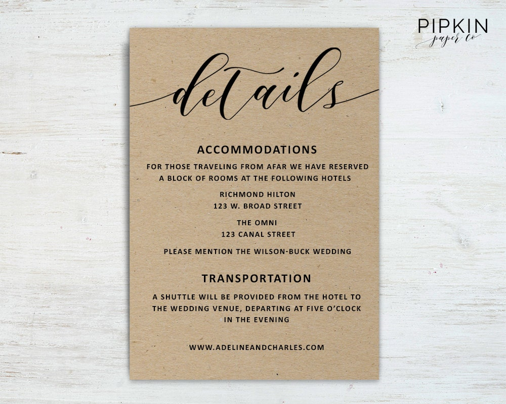 What Information To Put On A Wedding Invitation: Wedding Details Template Wedding Information Card Rustic