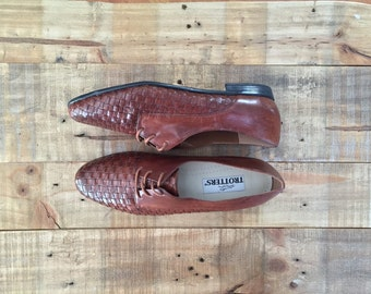Vintage Womens Leather Oxfords / Brown Oxfords / Oxford Shoes / Oxfords Womens
