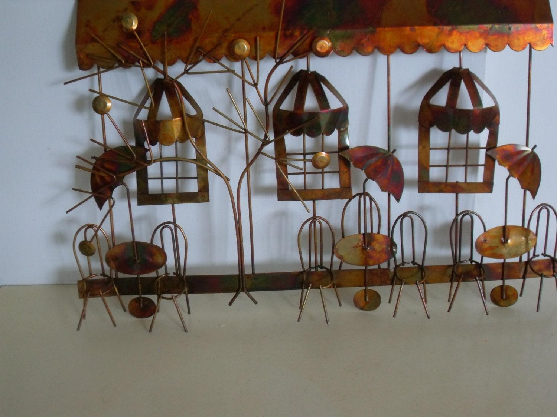 vintage copper metal wall art french cafe vintage wall. Black Bedroom Furniture Sets. Home Design Ideas
