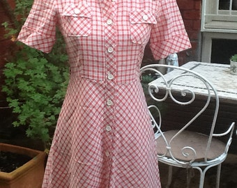 1970s vintage red gingham check cowgirl shirt waist cotton sun dress XS