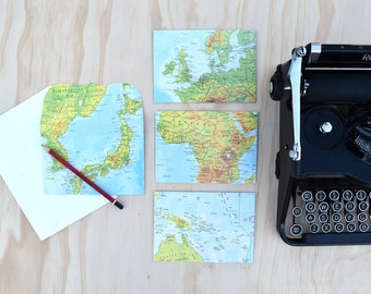 Handmade Vintage Map Envelope Paired With Seed Paper - Perfect Gift, Invitation, or Greeting Card Made From Vintage Paper
