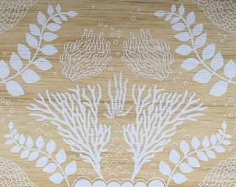 Ocean Forest, artwork print to wood, natural, beach, neutral, white, wall art