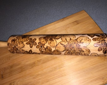 ROLLING PIN - flowers,home&living,baking,bake,woodburned, wood burned, hand burned