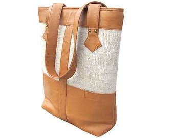 Large Leather Tote Bag Hemp Shoulder Bag Women Market Bag