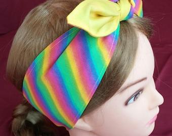 Headband hair wraptie bandanna Rainbow print 100% Cotton