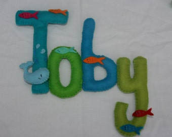 Baby or Child's name banner Underwater theme, Made to Order