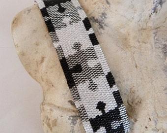 Cuff Bracelet woven Aphrodite 11 black white and grey