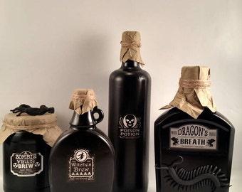 Decorative Halloween potion bottles set of 4,Halloween decor, Halloween potion bottles,upcycled liquor bottles, decorative Halloween bottles