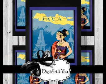 Digital collage/Travel/Tourist/Java/Indonesia/Island/Boat/River/Gorgeous/Unique/Digital Download/Vintage Art/Inchies/Dominoes/Retro/Collage