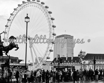 Black and White London Eye Photo