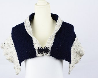 Crochet Navy/Cream Shawl